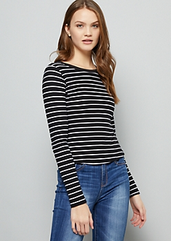 Black Striped Super Soft Long Sleeve Ringer Tee