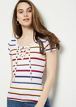 White Rainbow Striped Super Soft Lace Up Tee