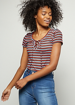 Red Striped Super Soft Lace Up Tee