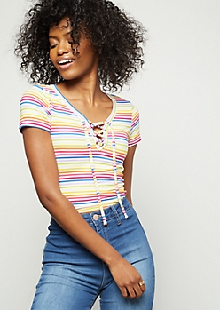 Rainbow Striped Super Soft Lace Up Tee