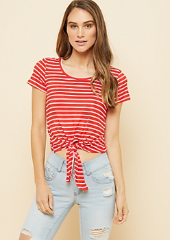 Red Striped Pattern Super Soft Tie Front Skimmer Top