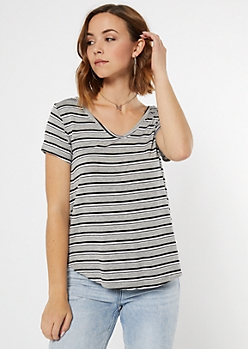 Gray Striped Essential V Neck Tee