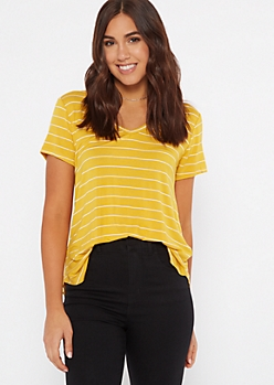 Mustard Striped Essential V Neck Tee