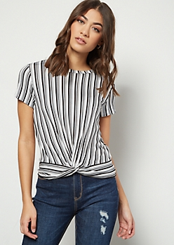 Black Striped Knot Front Essential Tee