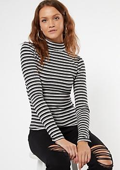 Black Striped Mock Neck Long Sleeve Top