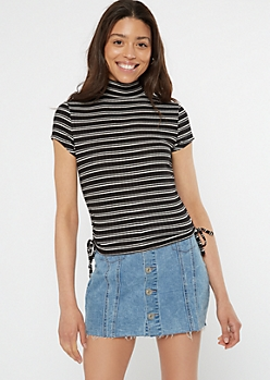 Black Striped Ribbed Cinch Drawstring Tee