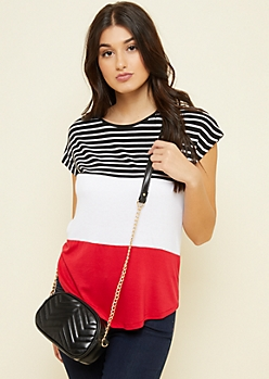 Red Striped Colorblock Dolman Tee