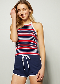 Navy Striped Ringer Cropped Tank Top