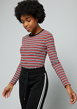Red Striped Ribbed Knit Crew Neck Tee