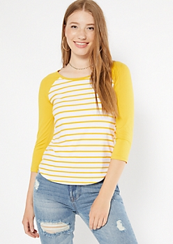 Mustard Striped Super Soft Raglan Tee