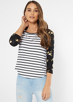 White Striped Floral Print Super Soft Raglan Tee