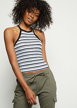 Blue Striped High Neck Ribbed Knit Cropped Tank Top