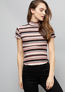 Pink Striped Super Soft Lettuce Edge Tee