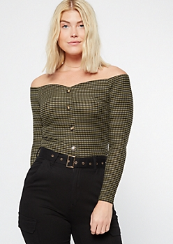 Olive Striped Button Front Off The Shoulder Top