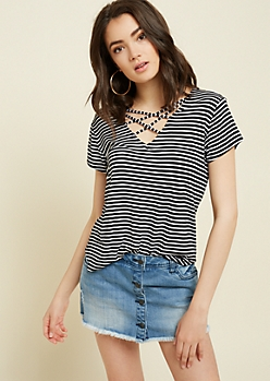 Black Striped Lattice Strap Tee