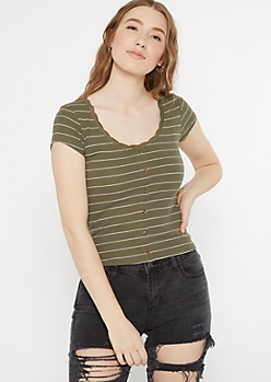 Green Striped Lace Trim Scoop Neck Top