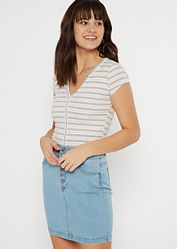 Pink Striped Snap Button Henley Top