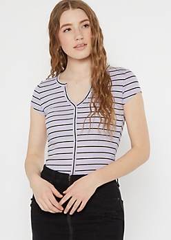 Purple Striped Snap Button Henley Top