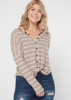 Taupe Striped Button Down Waffle Knit Top