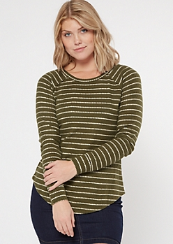 Olive Striped Crew Neck Waffle Knit Top