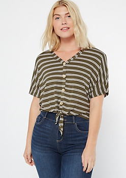 Olive Striped Button Down Tie Front Tee