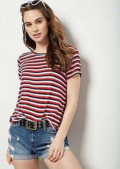 Red Striped Short Sleeve Favorite Tee