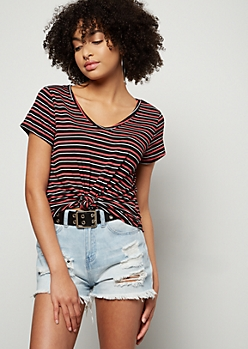 Dark Pink Striped Favorite Relaxed V Neck Tee