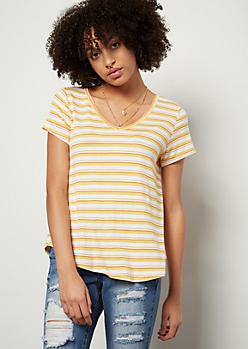 Yellow Striped Favorite Relaxed V Neck Tee