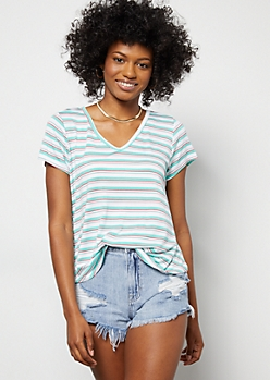 Mint Striped Favorite Relaxed V Neck Tee
