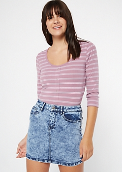 Purple Striped Snap Front Tee