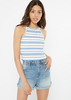 Blue Striped Ribbed High Neck Tank Top