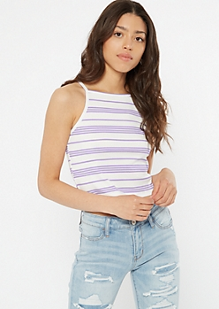 Purple Striped Ribbed High Neck Tank Top