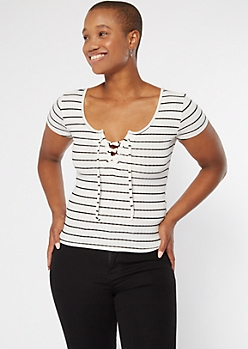 White Striped Lace Up V Neck Tee