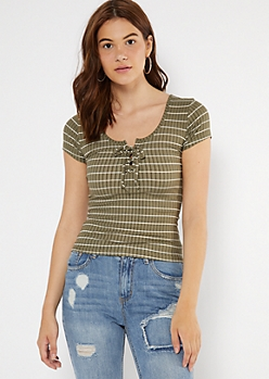 Olive Striped Lace Up V Neck Tee