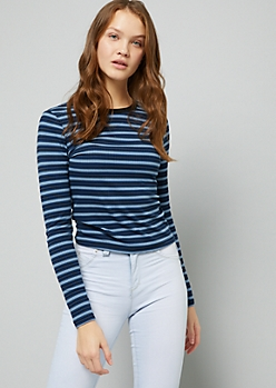 Blue Striped Ribbed Knit Long Sleeve Tee
