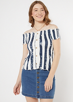 Navy Striped Off The Shoulder Faux Button Top