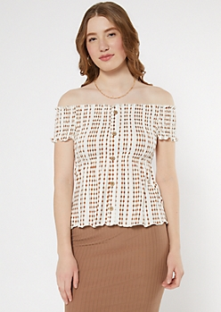 Ivory Diamond Striped Off The Shoulder Peplum Top