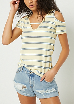 Light Yellow Striped Cutout Super Soft Tee