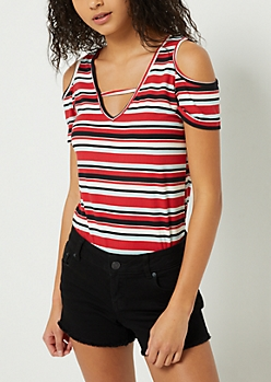 Red Striped Cutout Super Soft Tee