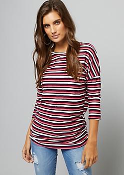 Burgundy Striped Three Quarter Sleeve Ruched Side Tunic