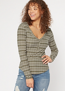 Olive Striped Snap V Neck Henley Top