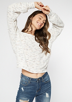 White Space Dye Hacci Knit Open Twist Back Top
