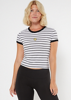 White Striped Smiley Embroidered Ringer Baby Tee