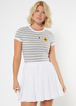 Gray Striped Sunflower Embroidered Ringer Baby Tee