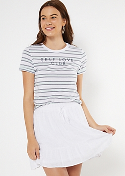 Mint Striped Embroidered Self Love Club Ringer Tee
