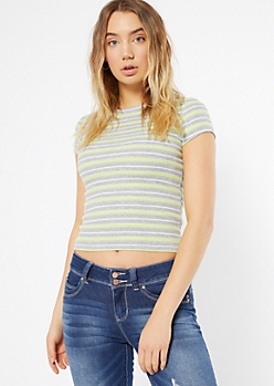 Green Striped Ribbed Knit Crew Neck Tee