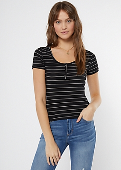 Black Striped Snap Front Super Soft Tee