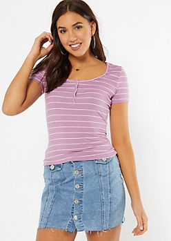 Purple Striped Super Soft Snap Front Tee