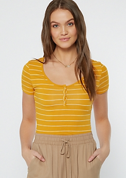 Mustard Striped Super Soft Snap Front Tee
