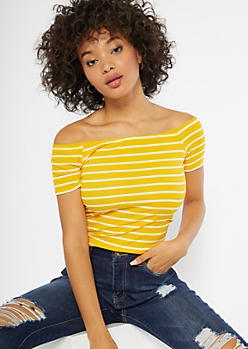 Yellow Striped Off The Shoulder Ribbed Knit Tee